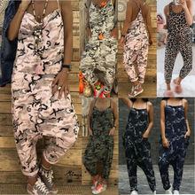 Women Camouflage Sleeveless Jumpsuit Summer Loose Wide Leg Playsuit Strappy Straight Casual Overalls Short Bib