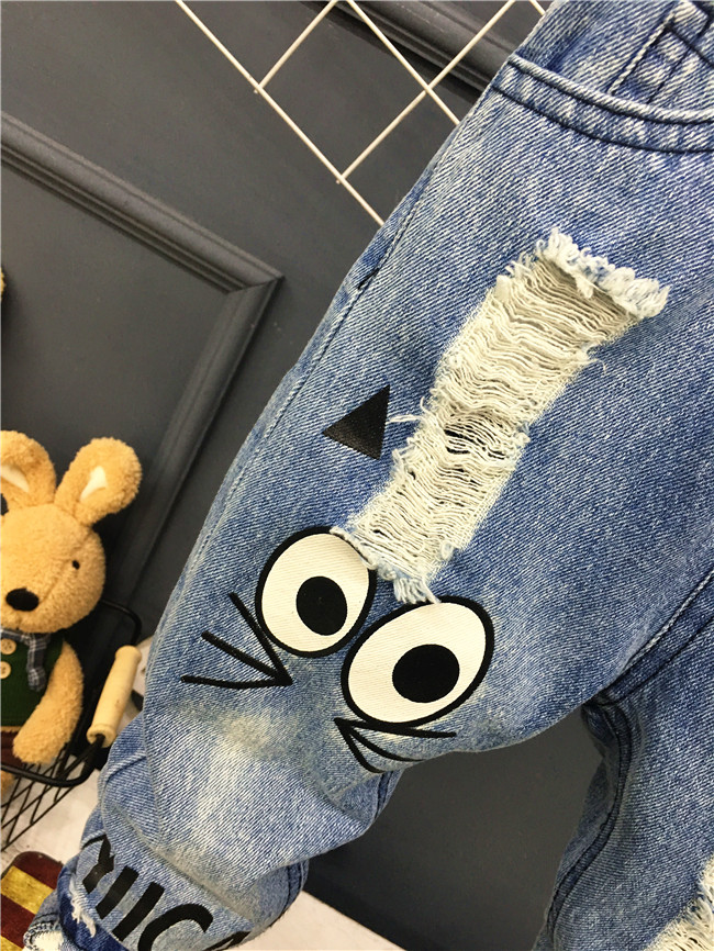 New 2018 Spring Autumn Children Trousers 1-7Yrs Baby Boys Girls Jeans Boys Casual Pants Cartoon Cat Jeans For Kids