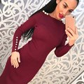 2016 Fashion Women Sexy Bodycon Dress Autumn Winter Knitted Midi Dress Vestdos Solid Long Sleeve Package Hip Club Dress Y3