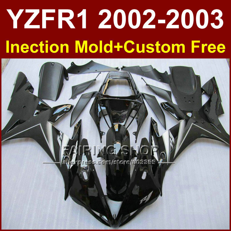 Glossy black custom fairing for YAMAHA bodywork YZF1000 02 03 YZF R1 2002 2003 yzf r1 body parts Aftermarket +7gifts dark blue motorcycle bodywork for yamaha yzfr1 2007 2008 injection mold fairings yzf r1 yzf1000 body parts yzf 1000 07 08 7gifts