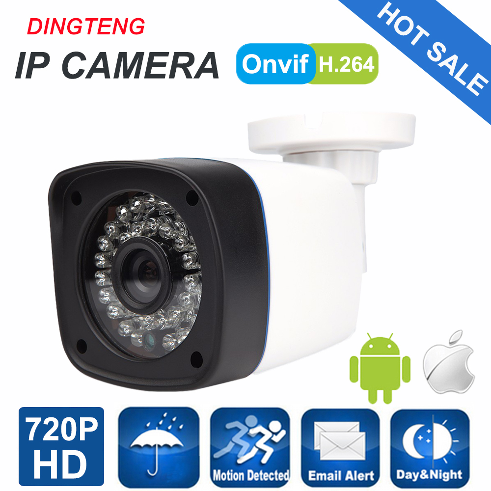 IP Camera 720P Outdoor Full HD Waterproof Bullet 3.6mm Lens IR Cut Night Vision P2P ONVIF ABS Plastic Housing CCTV Camera System hot selling outdoor waterproof telecamera ir night vision security camera 2 8 3 6 4 6 8 12mm lens 720p hd ip bullet webcam j569b