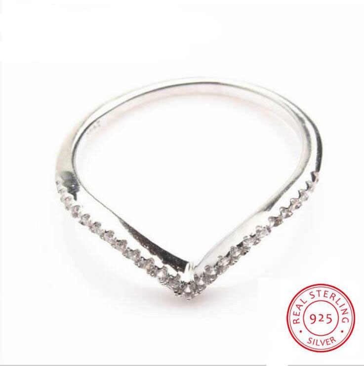 """أعلى بيع اليدوية الفاخرة مجوهرات بيور 100% 925 فضة 5a بيضاء زركون المرأة الزفاف """"v"""" حلقة هدية تتلاشى أبدا"""