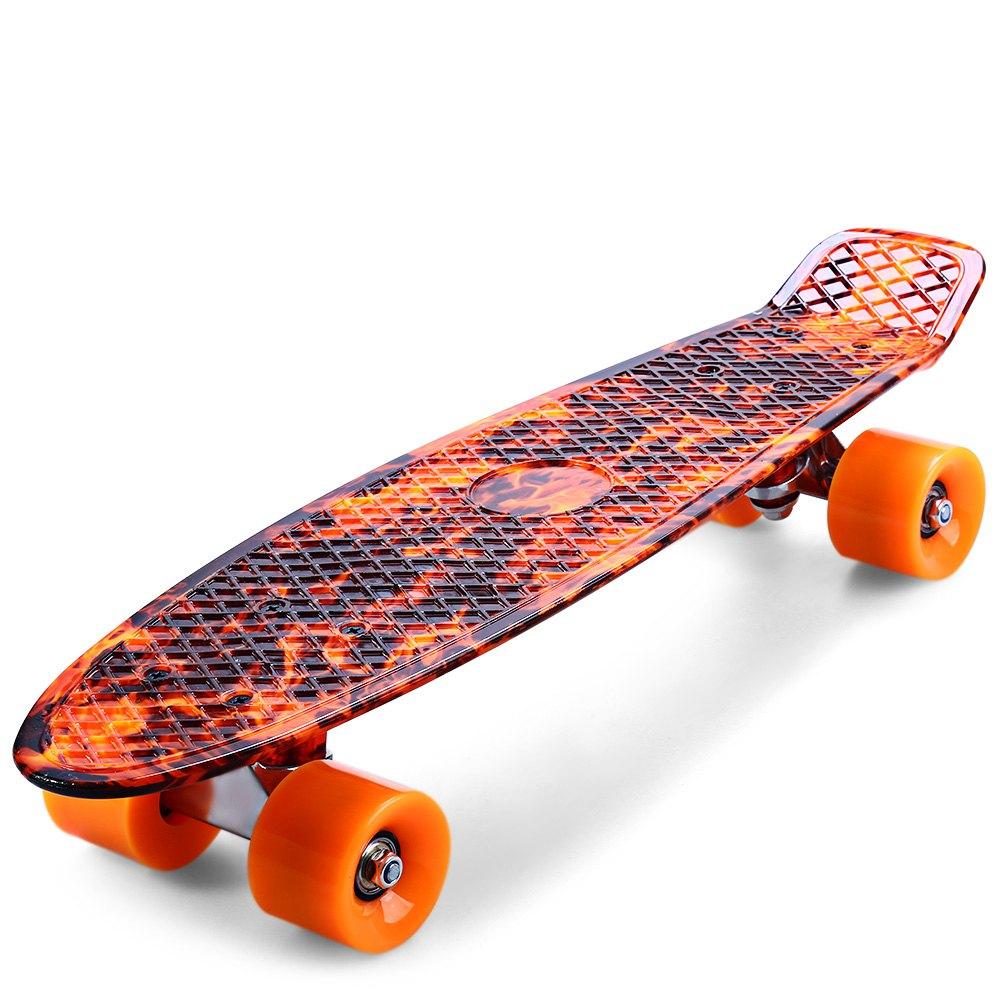 Prix pour CL-78 Impression Hellfire Flamme Motif Planche À Roulettes Complète 22 pouce Rétro Cruiser Longboard Skatecycle Pour Enfant