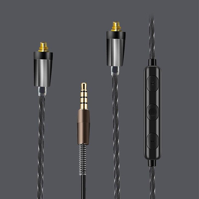 Upgrade HIFI MMCX Kabel für Shure SE215 SE535 SE846 SE425 ue900 Kopfhörer Kopfhörer 3,5mm Kabel mit mic für iPhone android IOS