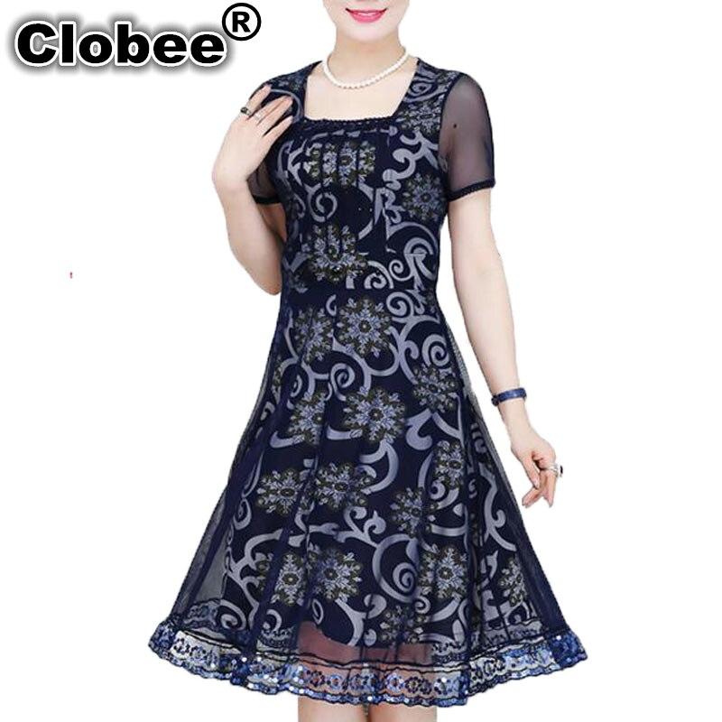 Clobee Plus Size XL-6XL Women Summer Dress 2018 Ukraine Tunic A-line Elegant Print Short Sleeve Chiffon Mesh Mini Dress Female