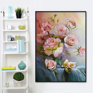 Image 1 - Classic rose pittura a olio di San Valentino Giorno decorativa poster e stampato Nordic pittura murale di arte della parete casa pittura decorativa