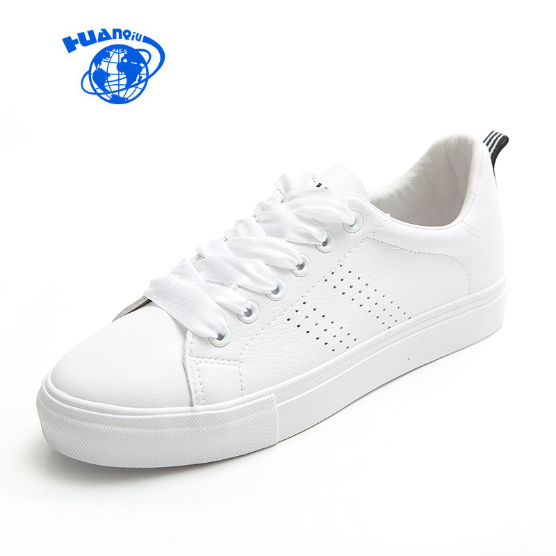 HUANQIU Women White Shoes Leather Shoes Lace Up All Match Fashion Style Female Casual Shoes White Sneakers Low Tops Flat Heel m genreal 2017 new women white shoes all match summer breathable leather shoes vulcanized casual shoes candy color lace 35 39