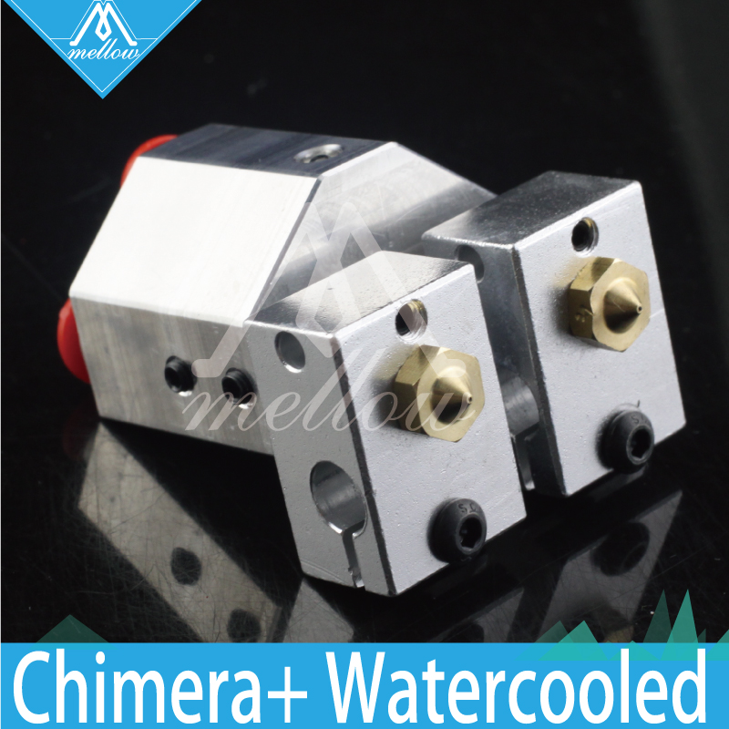 Mellow All-metal Chimera+ Water Cooled E3d Hotend Kit Multi-extrusion V6 Dual Head Bowden Titan Extruder 3D Printer Parts