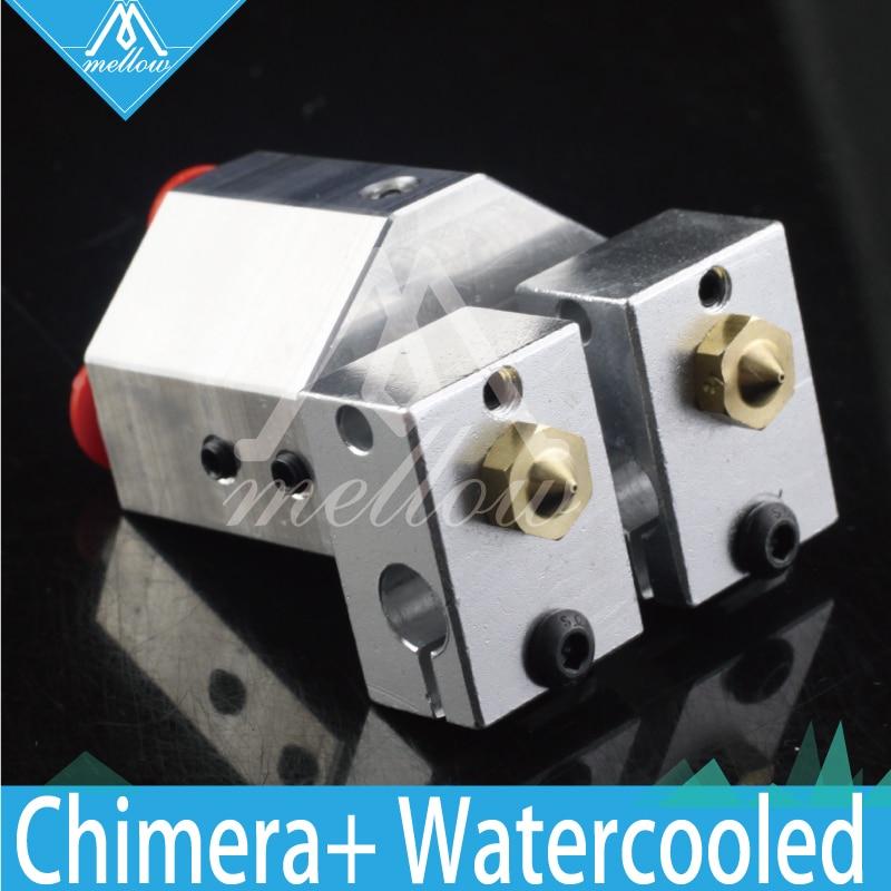 Mellow All-metal Chimera+ water cooled e3d Hotend kit Multi-extrusion V6 Dual Head bowden Titan Extruder 3D printer parts hot 3d printer v6 cyclops dual head kit 2 in 1 out tl feeder bowden splitter multi feeder system with with titan extruder