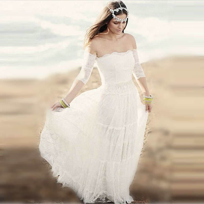 Wedding Dress White Vs Off White: New Bohemain White Chiffon Beach Half Sleeves Bridal Gowns