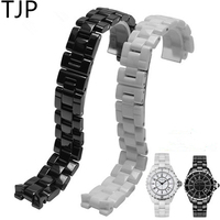 TJP Brands Hot Sale Ceramic 19mm 16mm Watchband Black White Watch Accessories Men Women Lovers Bracelet