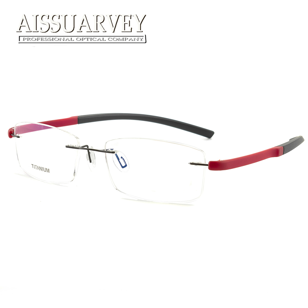 Tr90 Armações de Óculos Sem Aro de titânio Óculos Ópticos Prescrição Óculos  de Marca Designer de 3fec5fa762