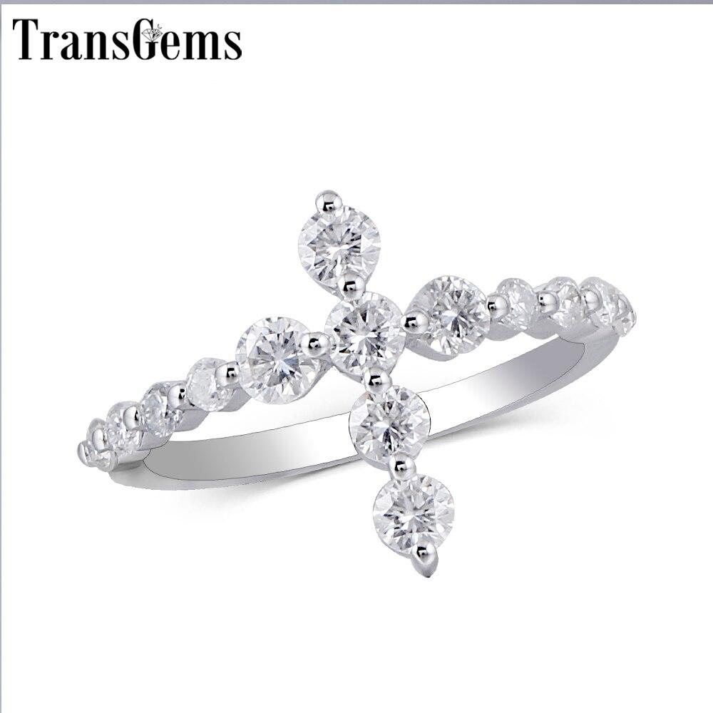Transgems Croix En Forme 14 k Blanc Or Promise Ring pour les Femmes Cadeau 3mm Moissanite F couleur Excellente Coupe Femmes ring Fine Jewelry