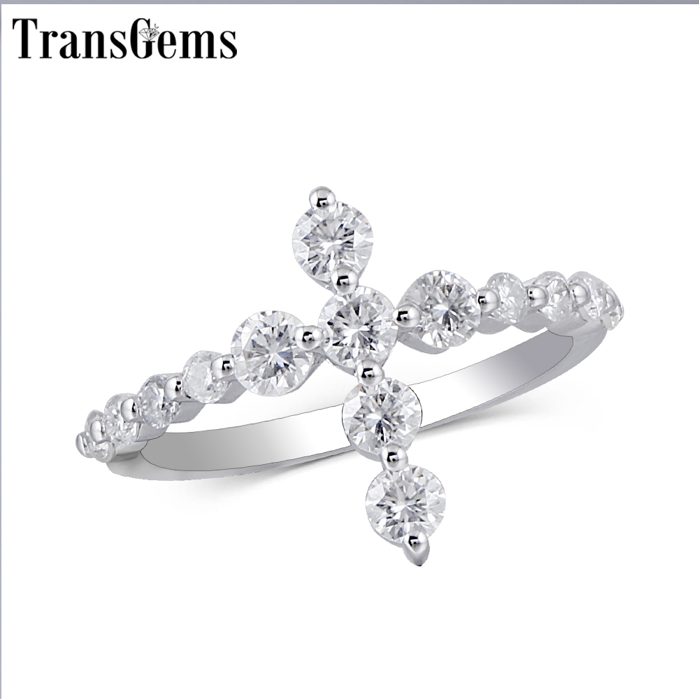 Transgems Cross Shaped 14K White Gold Promise Ring for Women Gift 3MM Moissanite F color Excellent Cut Women Ring Fine Jewelry hot sale rhinestoned solid color lion shaped ring for women