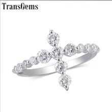 Transgems anillo de oro blanco de 14 quilates con forma de cruz para mujer, sortija de compromiso, moissanita, 3MM, corte excelente, joyería fina
