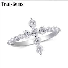 Transgems w kształcie krzyża 14 K białe złoto pierścień przyrzeczenia dla kobiet prezent 3 MM Moissanite F kolor doskonały Cut kobiety pierścień fine Jewelry