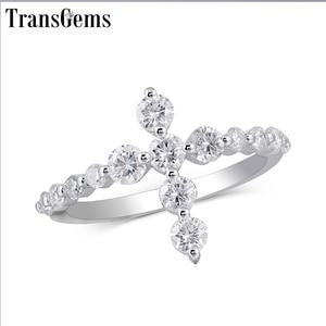 Image 1 - Transgems w kształcie krzyża 14 K białe złoto pierścień przyrzeczenia dla kobiet prezent 3 MM Moissanite F kolor doskonały Cut kobiety pierścień fine Jewelry