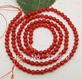 "FREE S&H AAA red coral round Loose bead gem 3mm 15"" long"