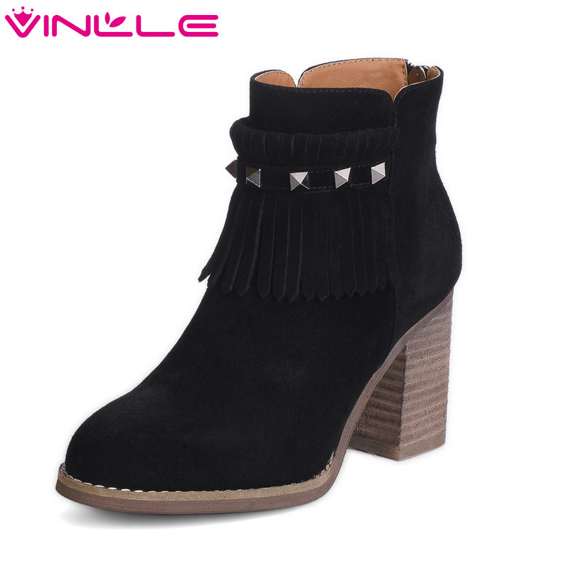 VINLLE 2018 Woman Boots Ankle Boots Ladies Square High Heel Genuine leather Women Shoes Rivet Ladies Motorcycle Boots Size 34-43 2017 pink shoes woman pu leather square high heel ankle boots zipper women winter shoes ladies motorcycle boots size 33 43