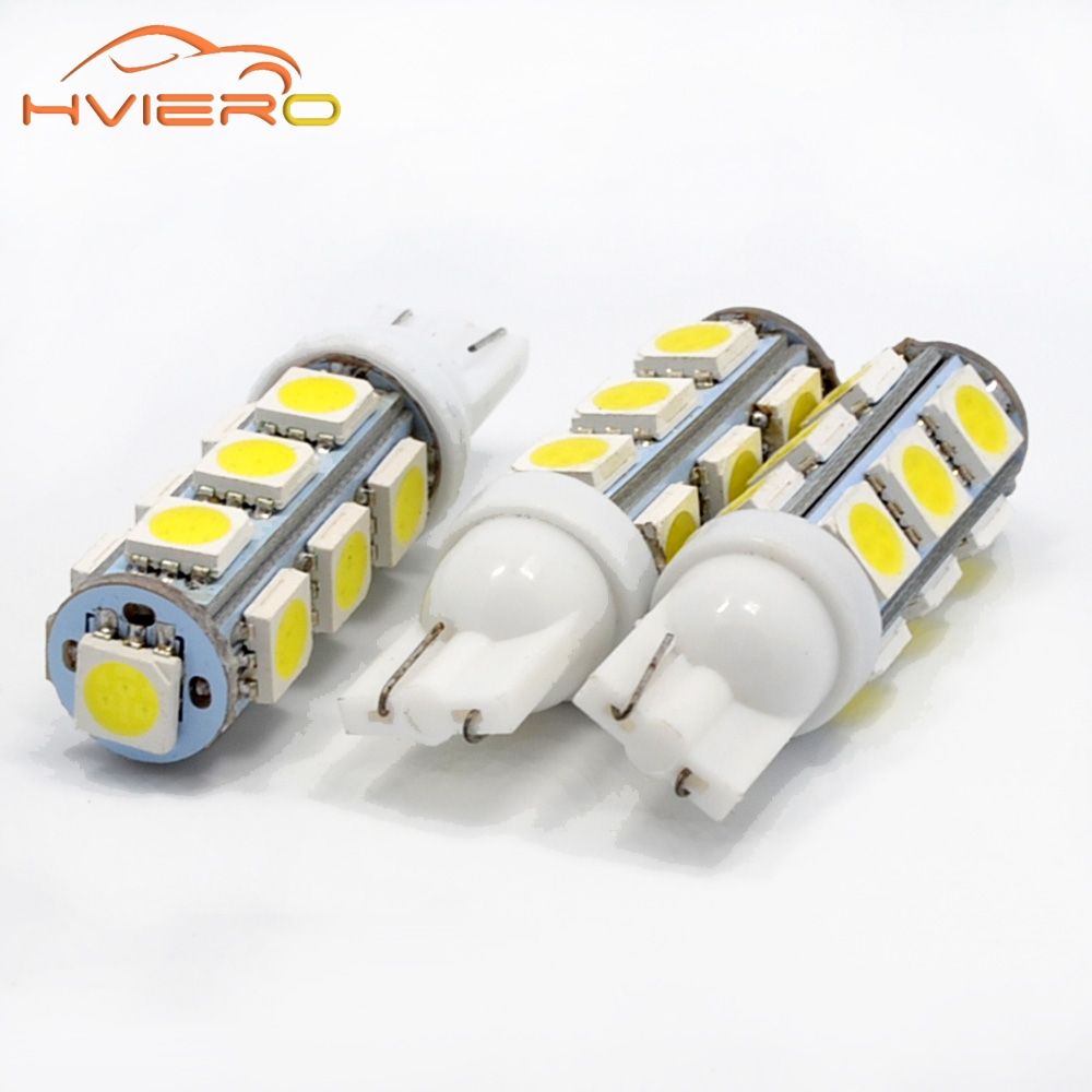 10Pcs White T10 13 SMD 5050 13LED 13Smd 194 168 192 Auto Car Side Marker Light Bulb 194 168 W5W LED Wedge Lamp DC 12V 10x t10 5smd dc 12v 1w 5050 5 smd 192 168 194 w5w white blue red green yellow pink xenon led side light wedge bulb lamp for car