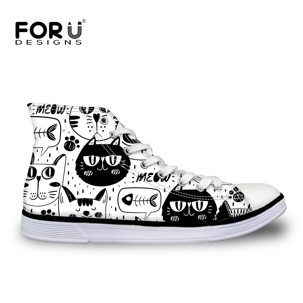 FORUDESIGNS Cartoon Animal Cat Cute Sneakers Woman Autumn New Fashion High Top Women Canvas Vulcanize Shoes High-top Ladies 2018 блузка t tahari блузка