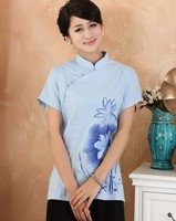 Blue Chinese Fashion Women S Clothing Linen Blouses Shirt Tops Flower Plus Size S M L