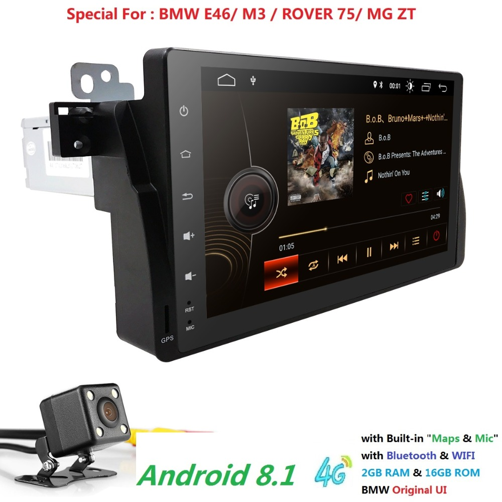 2G+16G Android8.1 Car Radio multimedia Player GPS Navigation Bluetooth 4GWiFi 1din Autoradio Stereo Audio For BMW M3 E46 DAB+CAM