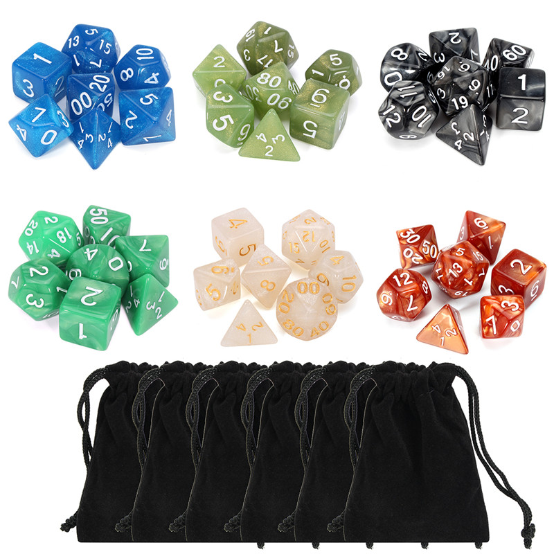 Board Games Polyhedral Dice RPG DND Pathfinder 42 Pcs Polyhedral Dice + 6 Pcs Dice Pouch Desk Game for Parties Teaching Projects