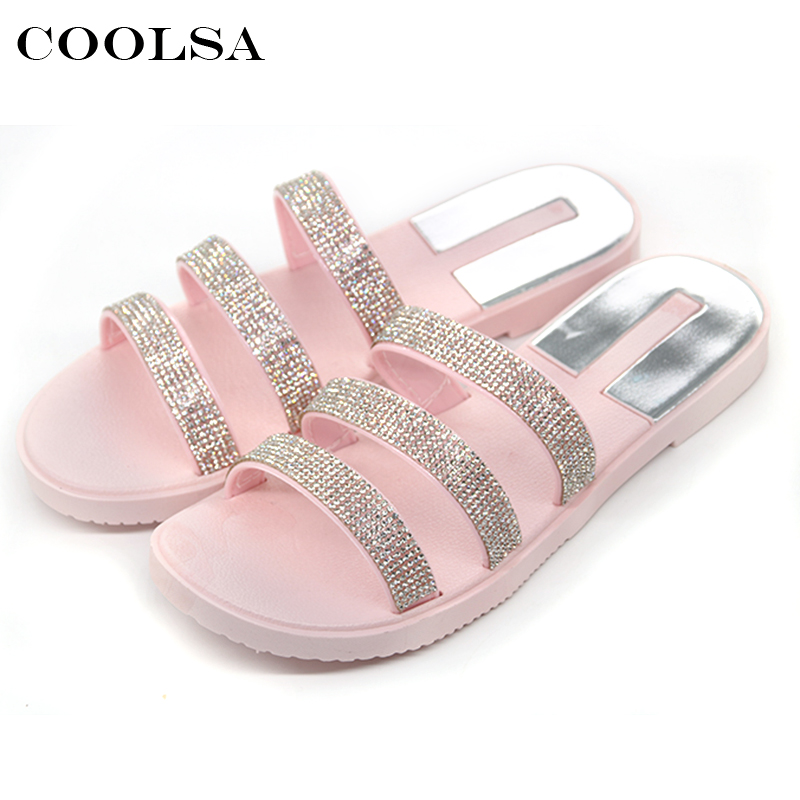 1900d7f3f Coolsa New Summer Women Beach Sandals Bling Slippers Non slip Flat  Rhinestone Slides Indoor Flip Flop Fashion Causal Beach Shoes