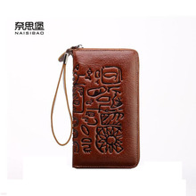 2016 New Women genuine leather wallet brands fashion purse quality leather clutch bag men and women GE zipper wallet