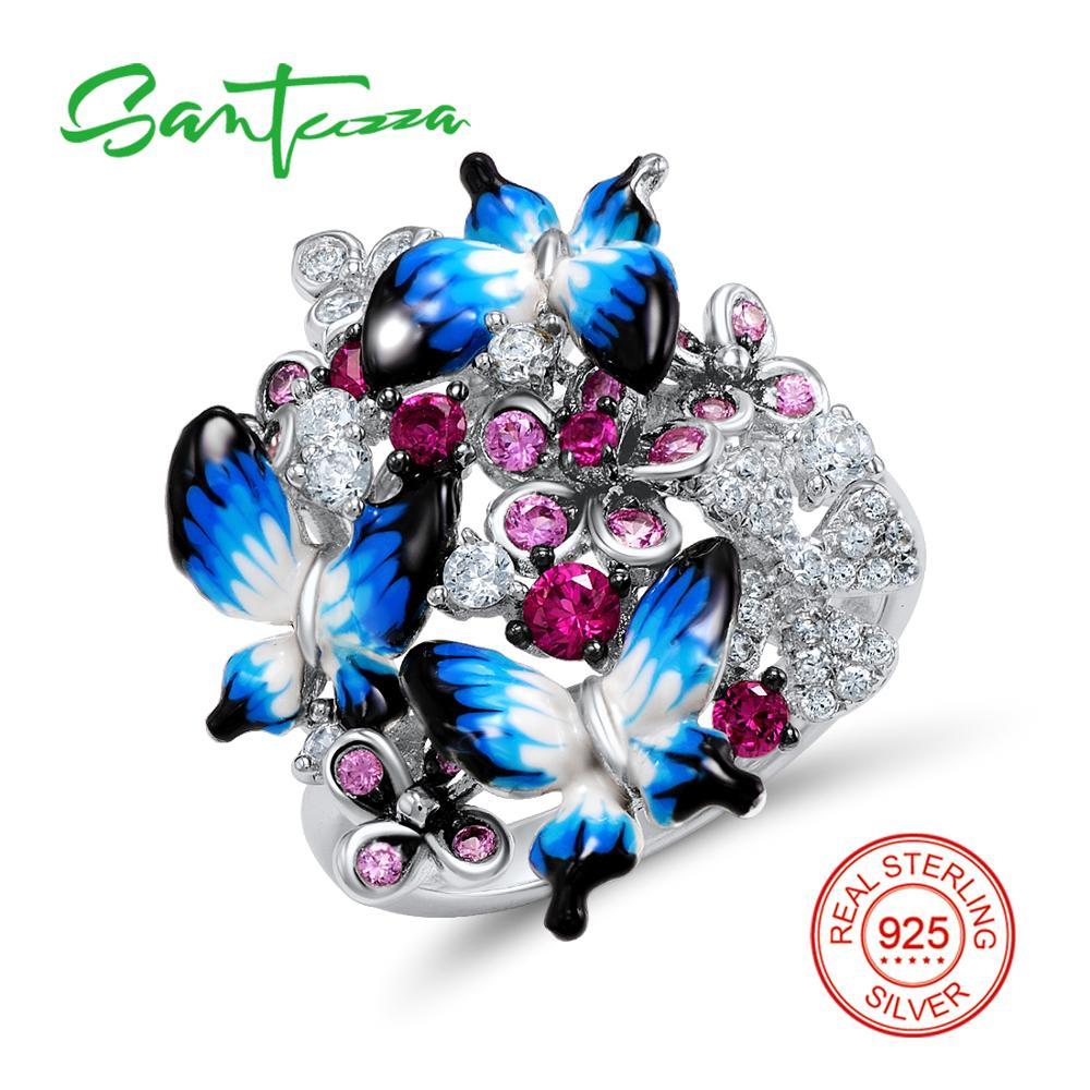 Silver Butterfly Enamel Ring for Women Blue White Cubic Zirconia Stone Women Ring Pure 925 Sterling