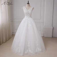 ADLN Cheap Cap Sleeve Wedding Dresses V Neck Applique Beaded Sequins Sexy Wedding Gowns Vestido De