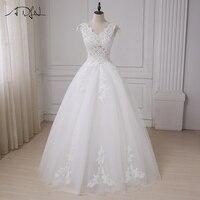 ADLN Cheap Cap Sleeve Wedding Dresses V neck Applique Beaded Sequins Sexy Wedding Gowns Vestido De Novia Customized Design