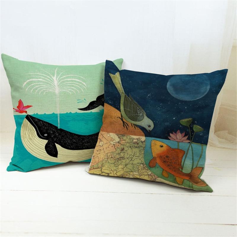 bird kiss fish print chair car seat pillow case cushion cover sofa cushions home decor. Black Bedroom Furniture Sets. Home Design Ideas