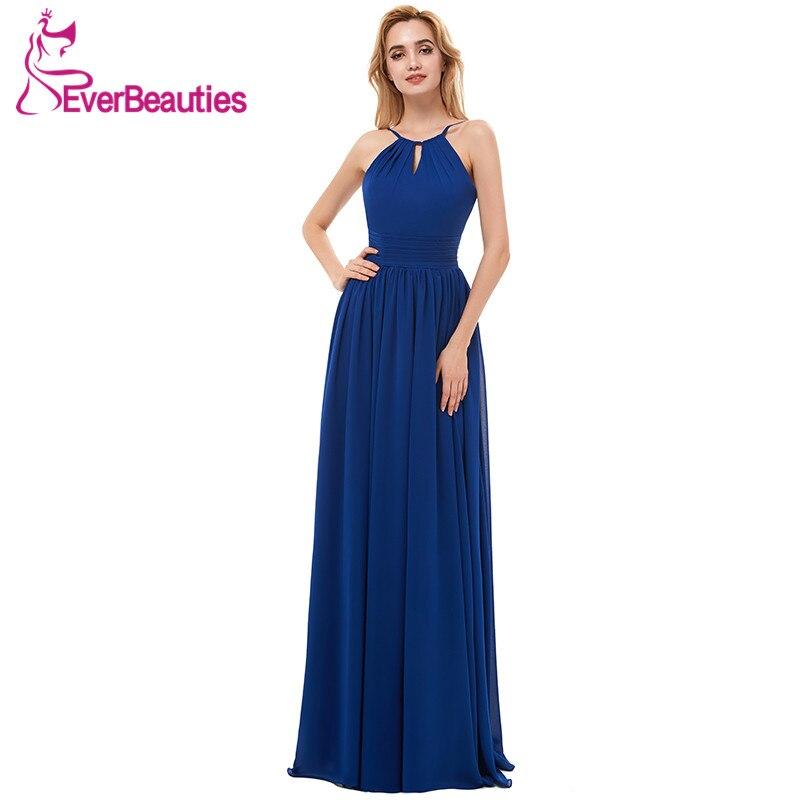 Hairstyle For Halter Neck Wedding Dress: Chiffon Bridesmaid Dresses Long 2019 Royal Blue Halter