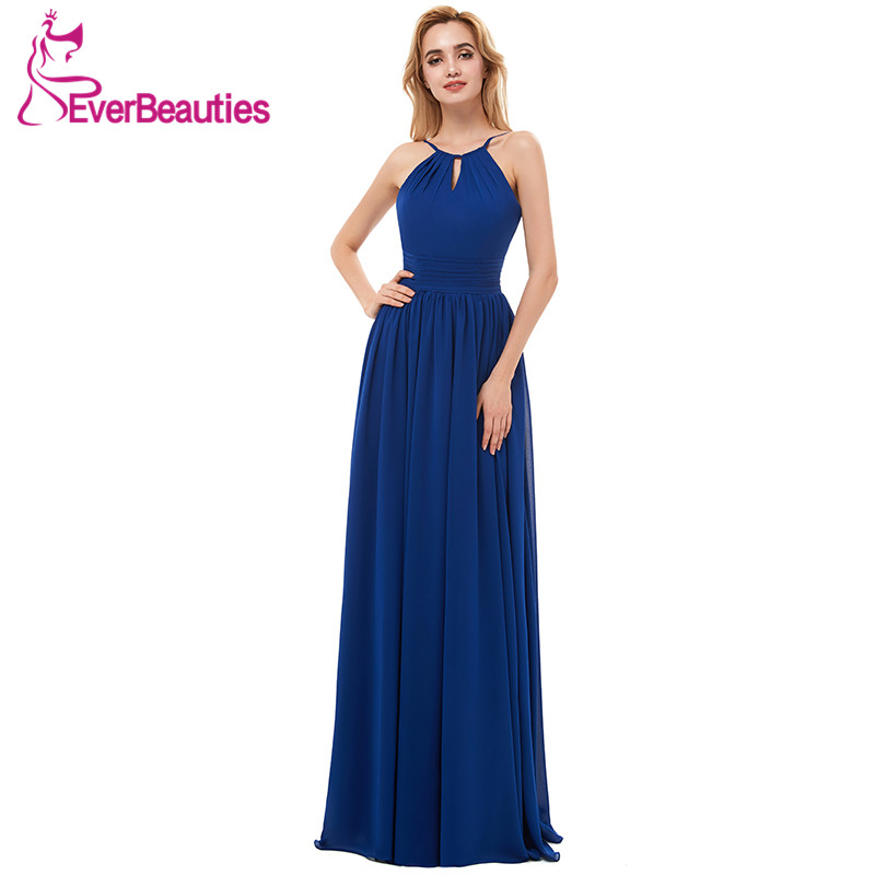 Chiffon   Bridesmaid     Dresses   Long 2019 Royal Blue Halter Neck Backless Wedding Party Guest   Dresses