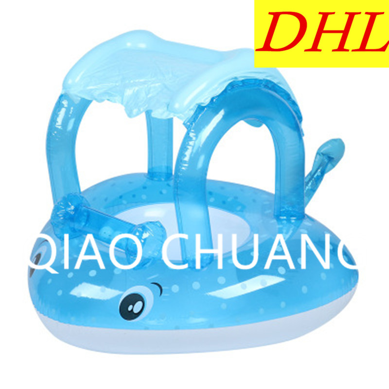 Wholesale 100pcs/lot Inflatable Cartoon Fish Baby Sun-shade Swimming Ring PVC Thicken Play With Water Toy G1354
