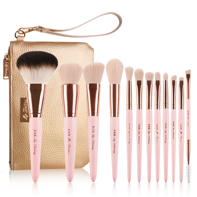 Professionelle 12 stücke set Rosa Make Up Pinsel Mit Goldenen Leder Tasche Hohe Qualität Make Up Tools Eye Make up Pinsel