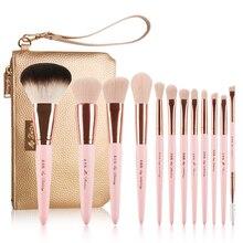 Set Profesional de 12 Uds. De pinceles de maquillaje de color rosa con bolsa de cuero dorado, herramientas de maquillaje de alta calidad, brocha de maquillaje de ojos