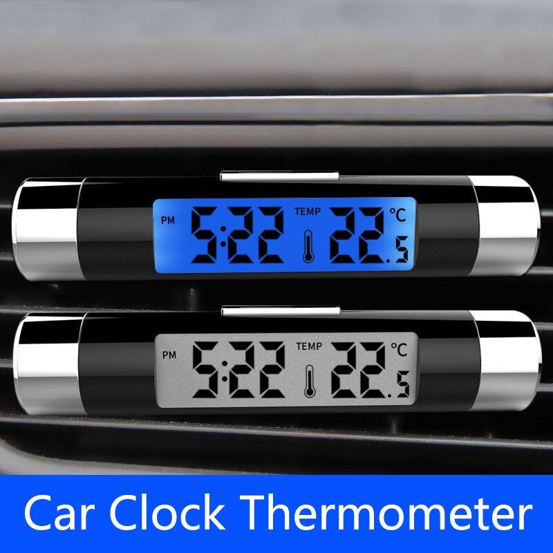 2in1 Auto Digitale Lcd Klok & Temperatuur Blauwe Achtergrondverlichting Voor Toyota Corolla Rav4 Camry Prado Avensis Hilux Prius Land Cruiser