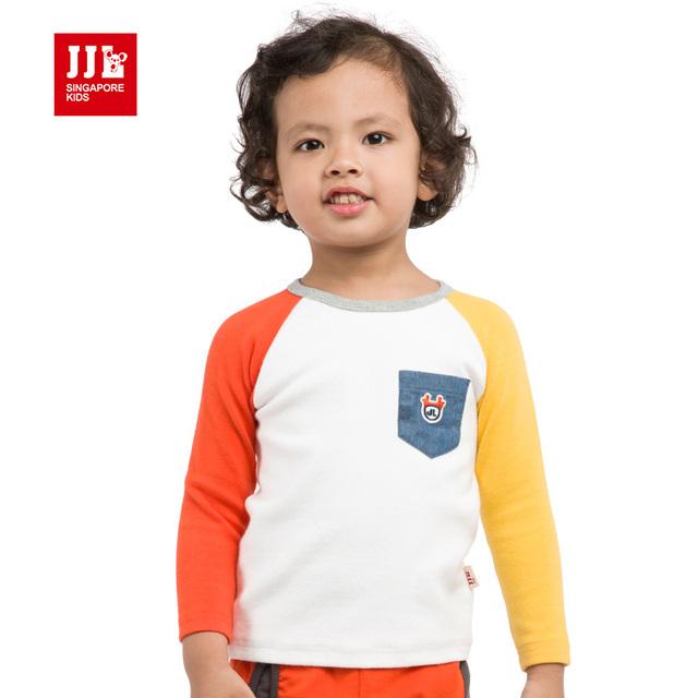 Bebé camiseta de manga larga de diseño de color de contraste de la ropa del niño recién nacido ropa