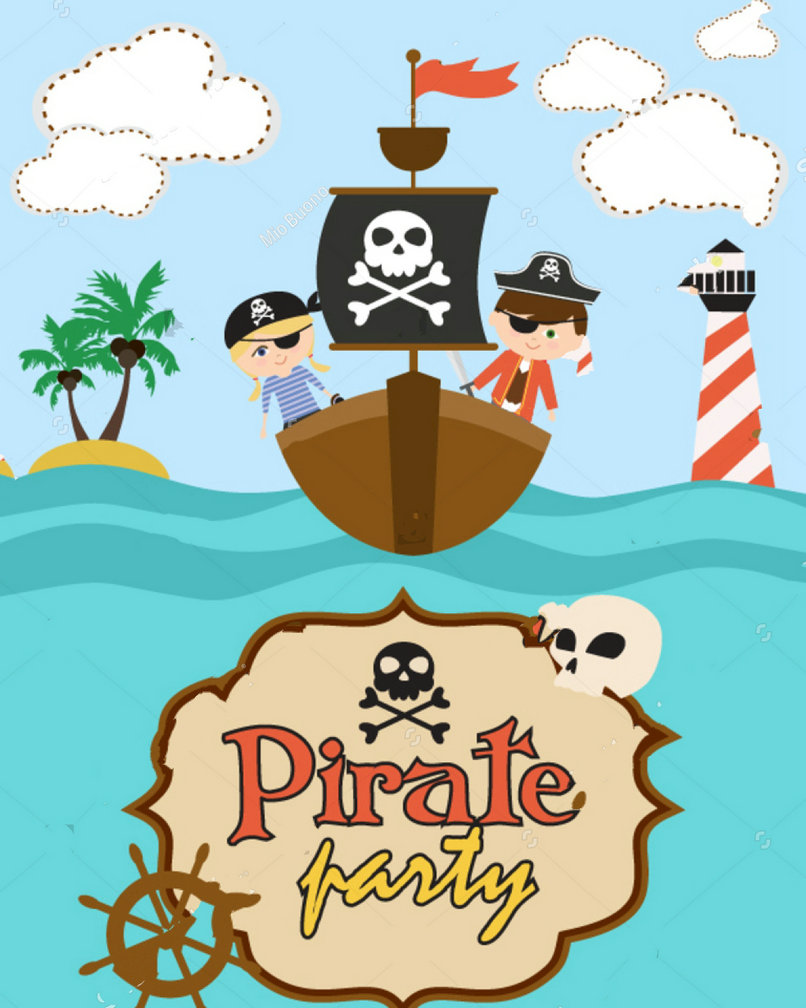Pirate Birthday Party Ship Clouds Sea Theme background Vinyl cloth High quality Computer print children kids backdrop