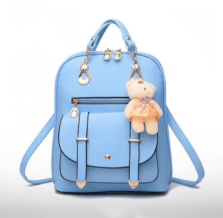 HTB1mcAMkrZnBKNjSZFKq6AGOVXao Preppy Style Women Backpack Bear Toys PU Leather Schoolbags for Teenage Girls Female Rucksack Shoulder Bag Travel Knapsack