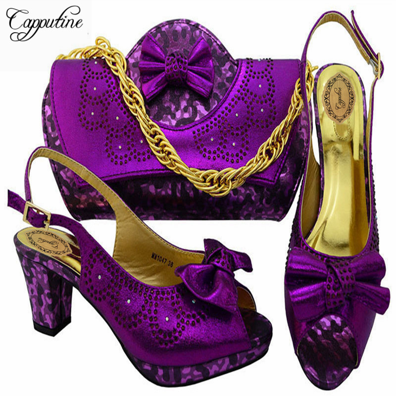 Capputine 2018 Summer Elegant Style Shoes And Bag Set African Shoes And Bag Set For Party In Women 7Colors Available MM1047 2016 spring and summer free shipping red new fashion design shoes african women print rt 3