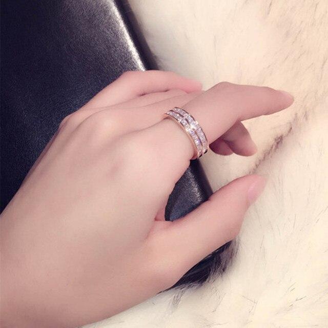 Золото-Цвет CZ Циркон Свадебные Кольца для Для женщин кубического циркония кольцо Нержавеющаясталь Романтический ювелирные изделия двойной сырья Кольца подарок