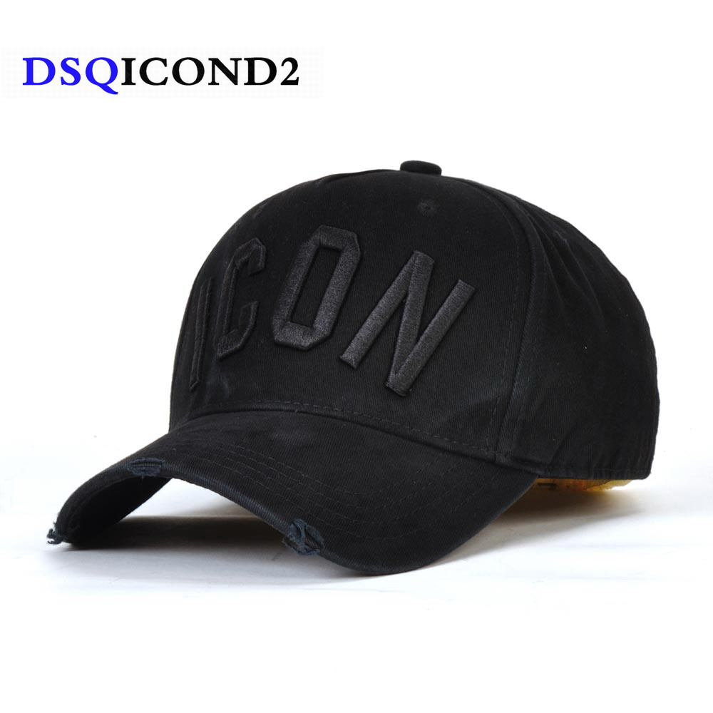 DSQICOND2 Cotton snapback   Baseball     Caps   DSQ Letters High Quality   Cap   Men Women Customer Design ICON Logo Hat Black   Cap   Dad Hats
