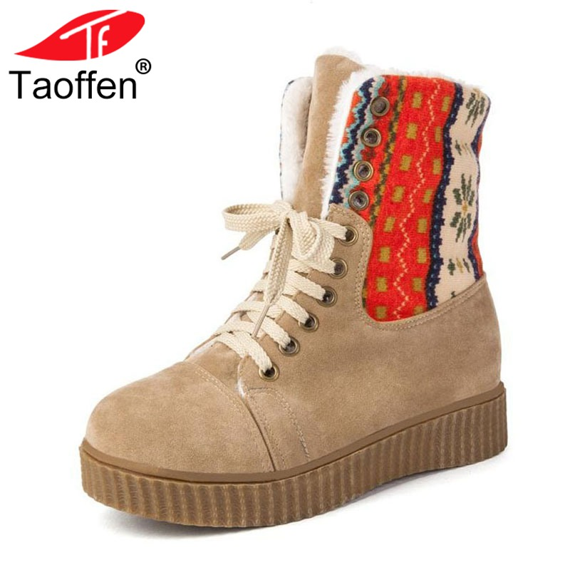 TAOFFEN Women Wedges Boots Lace Up Thick Fur Platform Shoes Women Winter Mid Calf Boots Patchwork Inside Heel Shoes Size 34-43 laconic women s mid calf boots with lace up and chunky heel design