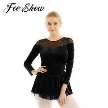 Adults Women Skating Dress Ballet Dance Gymnastics Leotard Dress Modern Latin Classical Dance Skirt Ballerina Costume Dance Wear