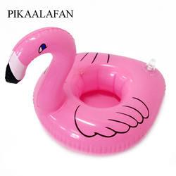 PIKAALAFAN Новый Лидер продаж Мини Розовый фламинго надувные Напитки Подстаканники плавающая игрушка бассейн вечерние для телефона чашки 1 шт