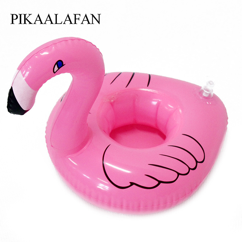 PIKAALAFAN New Hot Selling Mini Pink Flamingo Inflatable Drink Cup Holders Floating Toy Pool Can Party For Phone Cup 1Pcs